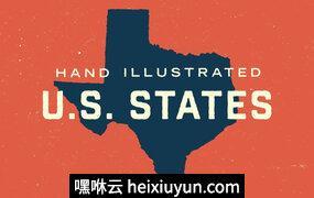 50个国家-手绘图 50 States – Hand Illustrated