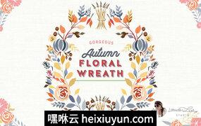 秋天花卉装饰元素素材 Autumn Floral Wreath Fall Decor #3060049