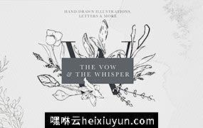 时尚优雅的花卉素材 Floral Alphabet amp;amp Illustrations #2437904