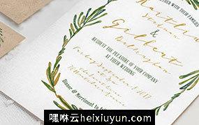 手绘水彩绿色花圈婚礼套装设计素材 Elegant-Wreath-Wedding-Suite #723945