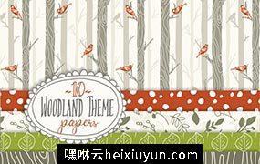 林地无缝图案纹理背景 Woodland  Seamless Pattern #42650