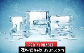 独特的3D冰块字母素材 ICE PSD ALPHABET – #2836938