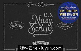 美国海军风格字体 U.S.Navy Script Freebies #434129
