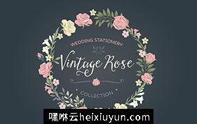 复古手绘婚礼玫瑰花卉矢量剪贴画素材合集 Vintage Rose wedding set #68954