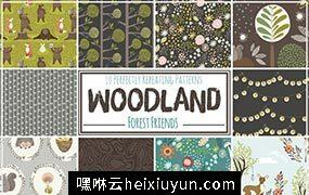 可爱的森林动物重复图案 Cute Woodland #2865512