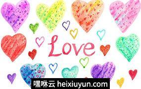 水彩爱心Hand Drawn Watercolor Heart Clipart #272680