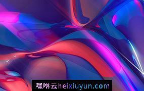 3D抽象折射晶体形状彩虹全息彩色背景 3d abstract refracting crystal shape