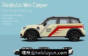 逼真的新款Mini Cooper汽车车贴设计Car-MockUp #1314605