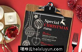 时尚高端圣诞节新年海报DM宣传单设计模板 christmas-restaurant-menu