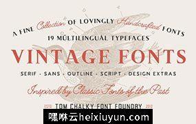 复古的字体素材包 The Handcrafted Vintage Fonts Pack #2222539