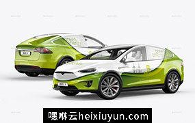 特斯拉汽车多角度场景展示样机贴图PSD模版 Tesla Model X Electric Car Mockup