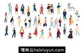 穿着时尚的年轻男女扁平卡通插图人物素材 Flat colorful vector illustration