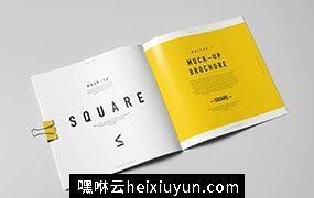 方形画册样机模板 Square Brochure Mock up