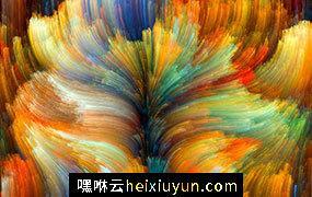 彩色渐变创意抽象线条梦幻水彩油画效果高清背景JPG图片设计素材模板8213