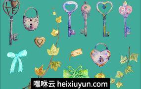 水彩复古锁钥匙心Watercolor Vintage Lock Key Heart #163957