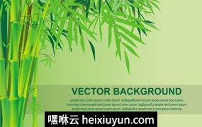 竹子竹林景观矢量插图Bamboo Vector Background