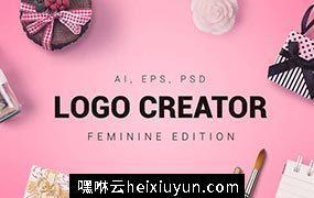 一套优雅的女性LOGO标志徽章快速生成套件工具包 Feminine Logo Creator #609712