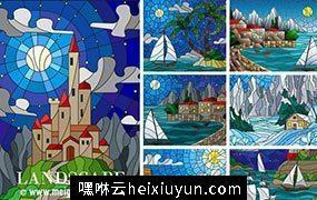 山水风景彩色玻璃效果矢量插图 Landscape