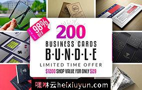 200个创意名片设计模板集Word Search Business Card #2396831