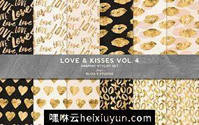烫金LOVE爱心背景纹理 Love & Kisses #1506520