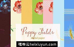 花卉图案背景纹理 Poppy fields. digital textures #304215