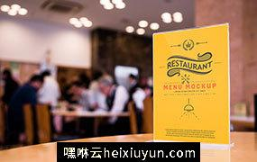 酒店饭店桌面亚克力餐牌贴图样机模版 Bar or Restaurant Menu Mockup