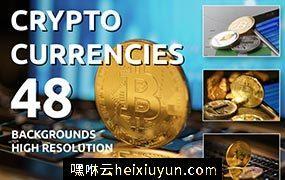 48张黄金比特币金币加密货币高清图片素材合集包 Golden Bitcoin Coin JPG set