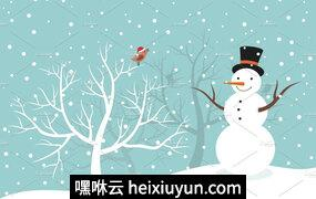 冬季的雪人矢量插图Snowman in winter