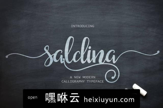 嘿咻云-流畅的手绘字体 Saldina Script #484656