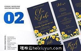 水彩花卉婚礼邀请函贺卡设计模板 Floral-Wedding-Invitation-Set-Vol.2