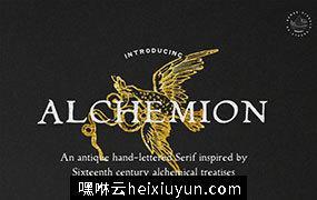 一款基于十六世纪炼金术文章的古董手工衬线字体 Alchemion – Display Serif