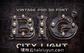 朋克风格的3D字体素材 PSD alphabet BIG City  #1081746