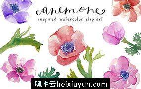 水彩海葵剪贴画 Watercolor Anemones Clip Art #31767