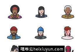 100个多样化人物头像PNG免抠矢量设计素材Diversity Avatars Set 3